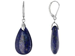 Blue lapis lazuli sterling silver dangle earrings