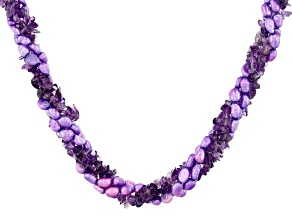 Purple Amethyst Sterling Silver Torsade Necklace