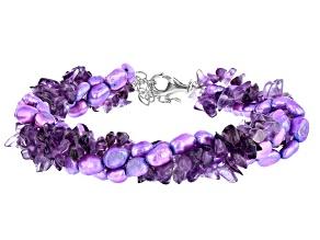 Purple amethyst Silver Torsade Bracelet