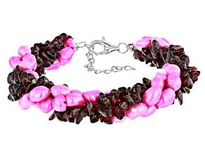 Pink Cultured Freshwater Pearl  Sterling Silver Torsade Bracelet