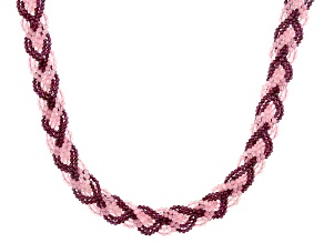 Pink rose quartz Sterling Silver Braided Necklace
