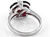 Purple Raspberry Color Rhodolite Rhodium Over Silver Ring 3.43ctw
