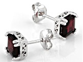 Purple Raspberry Color Rhodolite Rhodium Over Silver Earrings 2.58ctw