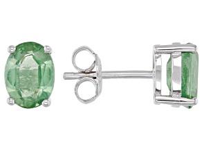 Green Mint Kyanite Rhodium Over Silver Earrings 2.74ctw