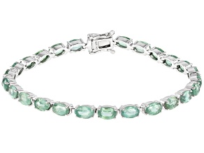 Green Mint Kyanite Rhodium Over Silver Bracelet .16ctw