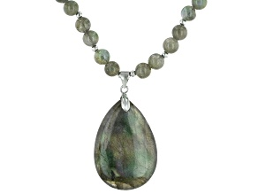 Gray labradorite sterling silver necklace