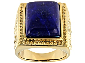Blue lapis 18k yellow gold over silver solitaire ring