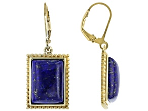 Blue lapis 18k yellow gold over silver dangle earrings