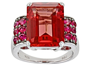 Orange Lab Created Padparadscha Sapphire rhodium Over Sterling Silver Ring 13.42ctw