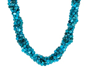 Blue Neon Apatite Sterling Silver Twisted Necklace