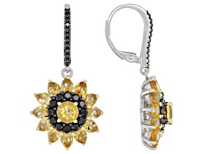 Yellow Citrine Rhodium Over Silver Earrings 4.89ctw