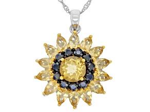 Yellow Brazilian Citrine Rhodium Over Silver Pendant With Chain 1.40ctw