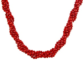 Red coral sterling silver twisted bead necklace