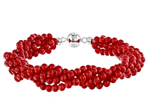 Red coral sterling silver twisted bead bracelet