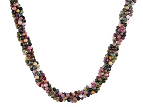 Multi-tourmaline sterling silver twisted bead necklace