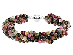 Multi-tourmaline sterling silver twisted bead bracelet