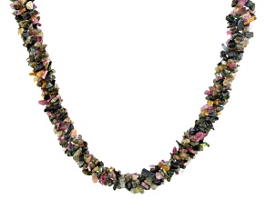 Multi-color tourmaline sterling silver twisted chip necklace