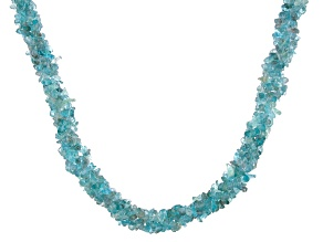 Blue/Green Apatite Chip Sterling Silver Torsade Necklace
