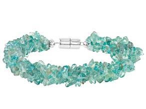 Blue/Green Apatite Chip, Sterling Silver Torsade Bracelet