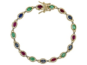 Red ruby 18k yellow gold over silver bracelet 4.69ctw