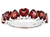 Red garnet rhodium over sterling silver ring 3.04ctw