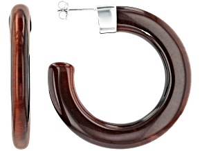 Red tigers eye rhodium over silver hoop earrings