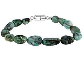 Green Emerald Rhodium Over Sterling Silver Bracelet