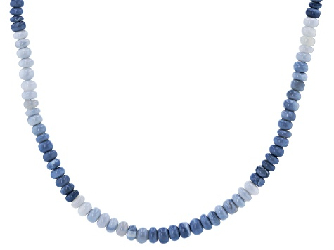 Blue Opal Bead Rhodium Over Sterling Silver Necklace