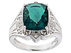 Teal Fluorite Rhodium Over Silver Ring 6.33ctw