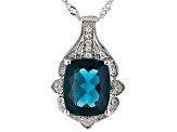Teal Fluorite Rhodium Over Sterling Silver Pendant with Chain 6.10ctw