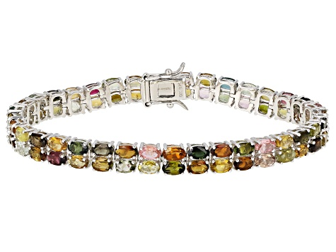 Multi-Color Tourmaline Rhodium Over Silver Bracelet 14.59ctw