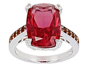Pink Lab Created Padparadscha Sapphire Rhodium Over Silver Ring 7.36ctw