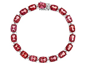 Pink Lab Created Padparadscha Sapphire Rhodium Over Silver Bracelet 27.02ct