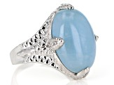 Blue Aquamarine Rhodium Over Silver Ring