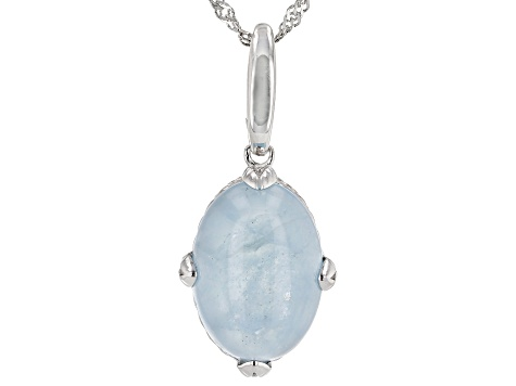 Blue Aquamarine Rhodium Over silver Enhancer With Chain