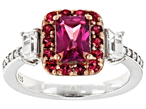 Pink Zircon Rhodium Over Silver Ring 2.35ctw