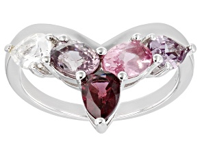 Multi-Color Spinel Rhodium Over Silver Ring 1.79ctw