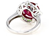 Red Lab Created Ruby Rhodium Over Silver Ring 6.99ctw