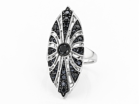 Black spinel Rhodium Over Sterling Silver Ring 1.69ctw