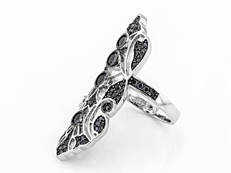 Black spinel Rhodium Over Sterling Silver Ring 1.46ctw