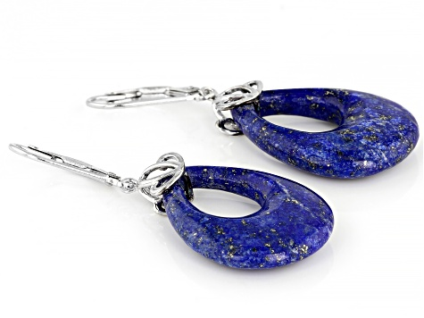 Blue Lapis Lazuli Rhodium Over Silver Earrings