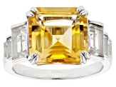 Yellow Citrine Rhodium Over Sterling Silver Ring 5.29ctw