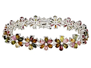 Multi-Color Tourmaline Rhodium Over Silver Bracelet 14.76ctw