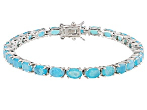 Blue Opal Rhodium Over Sterling Silver Bracelet 6.90ctw
