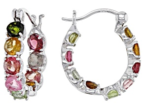 Multicolor tourmaline rhodium over silver inside/outside earrings 3.83ctw