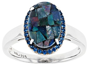 Multicolor Australian Mosaic Opal Rhodium Over Sterling Silver Ring .18ctw