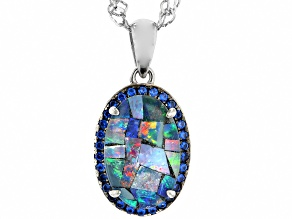 Multi Color Mosaic Opal Triplet Rhodium Over Silver Pendant with Chain .14ctw