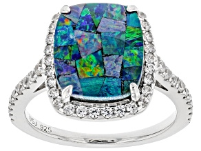 Multicolor Australian Mosaic Opal Triplet Rhodium Over Silver Ring .45ctw
