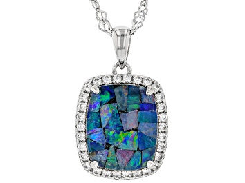 Picture of Multicolor Australian Mosaic Opal Tripliet Rhodium Over Silver Pendant with Chain .35ctw