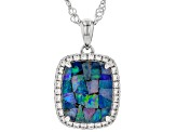 Multicolor Australian Mosaic Opal Tripliet Rhodium Over Silver Pendant with Chain .35ctw